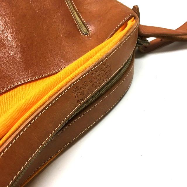 8b575e5f30b5 ... イルビゾンテ IL BISONTE キャンディバッグ トートバッグ 鞄 レザー×キャンバス ブラウン/オレンジ 橙 茶