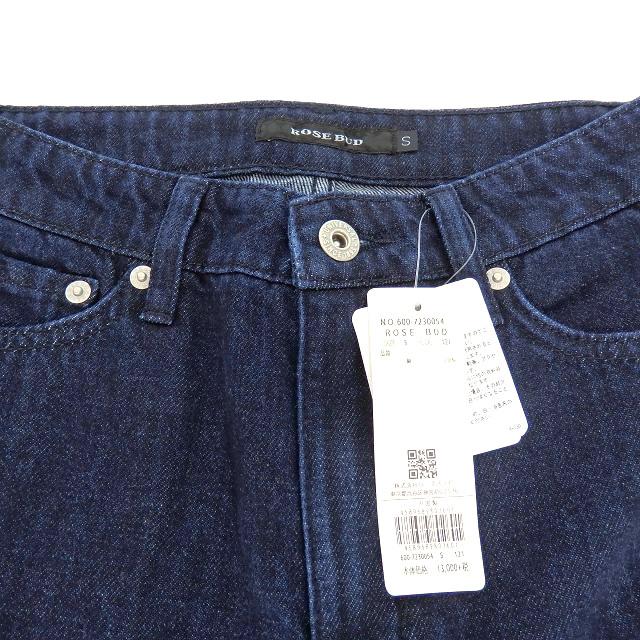 未使用品 ローズバッド ROSE BUD ペイント デニムパンツ ジーンズ 裾カットオフ S インディゴ 紺 600-7230054 SSAW レディース