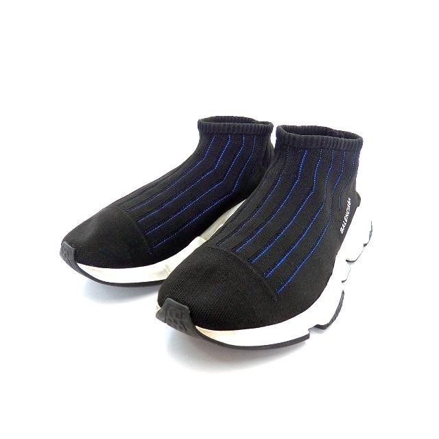 best service 8d832 9951e バレンシアガ BALENCIAGA スピード トレーナー スニーカー 靴 41 ノアール/ブルー 黒 青 483503W05501007 SSAW  メンズ