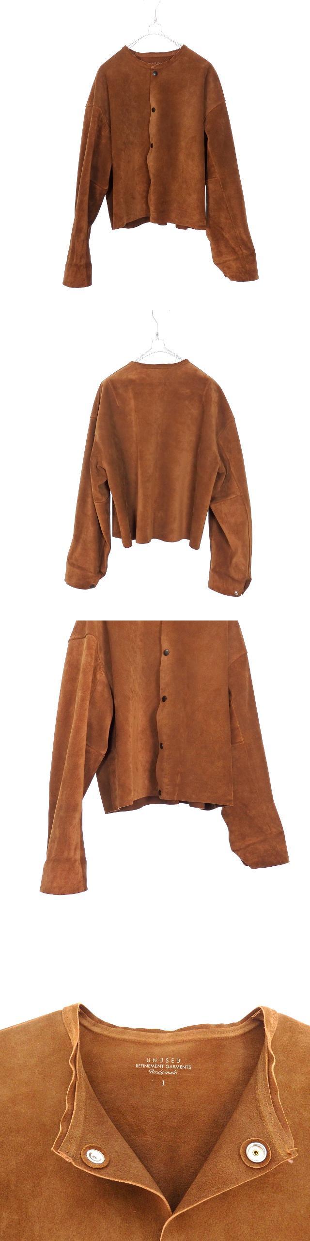 18SS No Collar Suede Jacket ノーカラー スエードジャケット ブルゾン 長袖 1 ブラウン 茶 US1403 秋冬