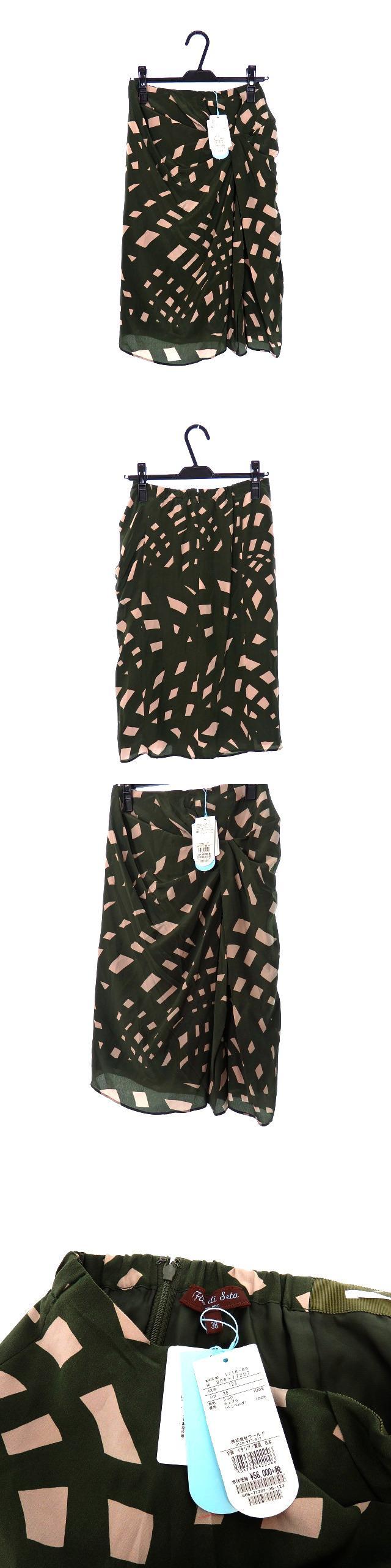 シルク フレアスカート ボトムス 総柄 38 オリーブ 緑
