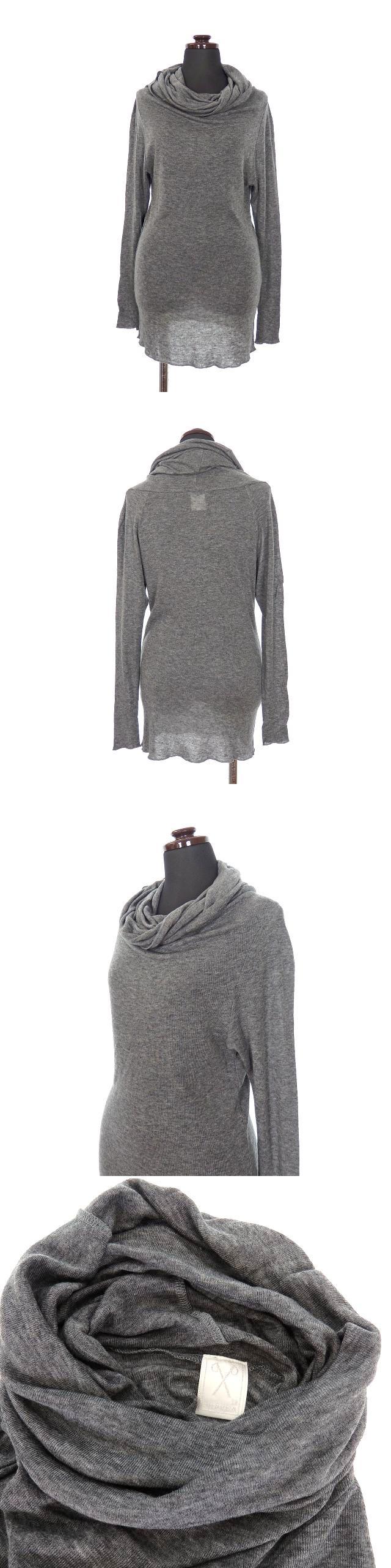 タートルネック ニット セーター カシミヤ混 長袖 38 グレー 灰 秋冬