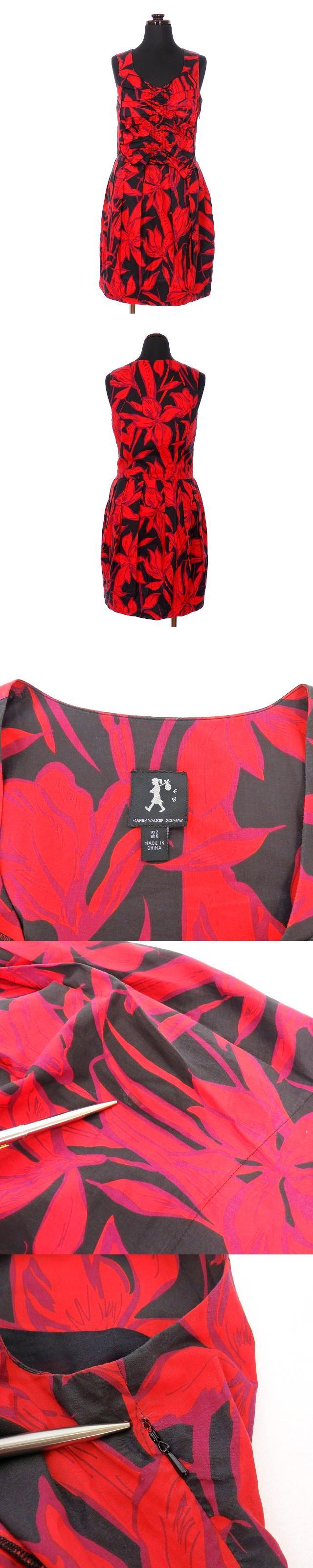 フラワープリント 花柄 ノースリーブワンピース チュニック US2 レッド/ブラック 赤 黒 春夏