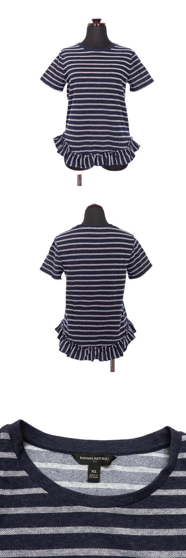 ペプラム ボーダー Tシャツ カットソー 半袖 XS ネイビー 紺 春夏