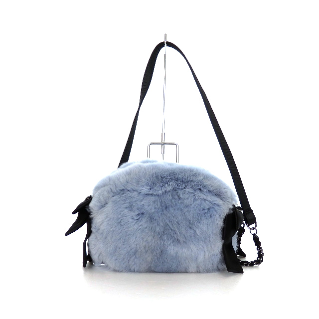 トゥービーシック TO BE CHIC レッキスラビット ファー ショルダーバッグ ポシェット 鞄 ブルー/ブラック 黒 青 秋冬 レディース