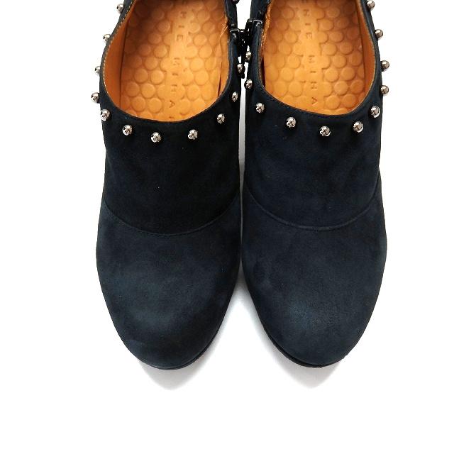 未使用品 チエミハラ CHIE MIHARA PECCA スタッズ ショートブーツ ブーティ 靴 37.5 ネイビー 紺 秋冬 レディース