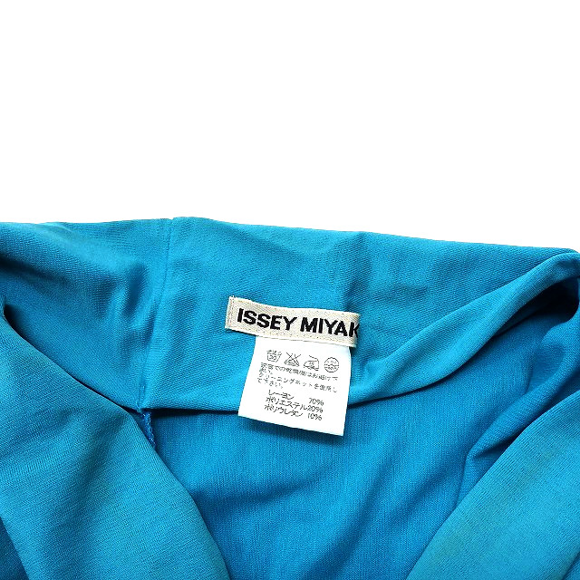 イッセイミヤケ ISSEY MIYAKE レーヨンジャージー ベアワンピース チュニック 2 ターコイズブルー 水色 SSAW レディース