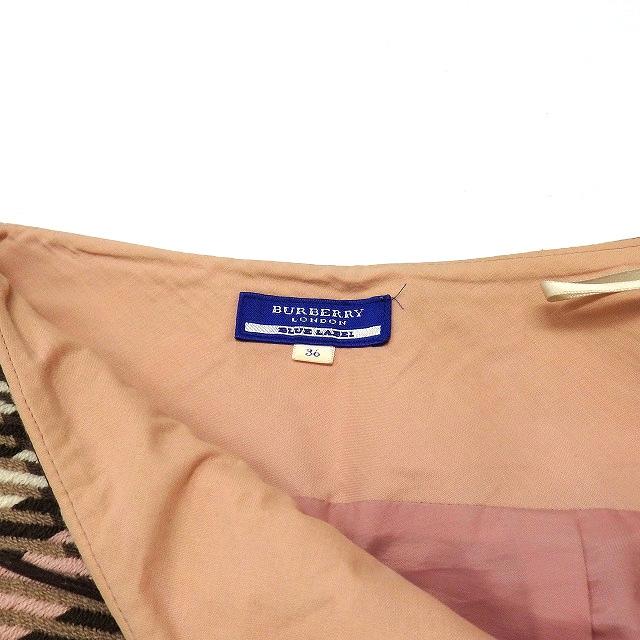 バーバリーブルーレーベル BURBERRY BLUE LABEL チェック柄 フレアスカート ボトムス 36 ピンク FXF42-537-14 レディース