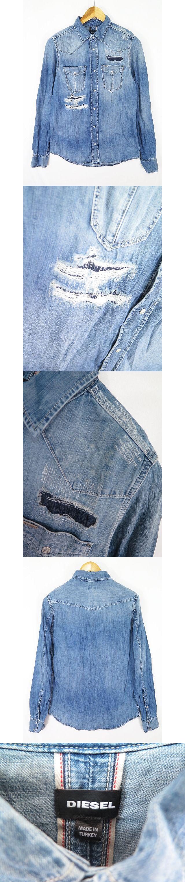 デニムウエスタン シャツ ダメージ リペア加工 M インディゴ sa5984