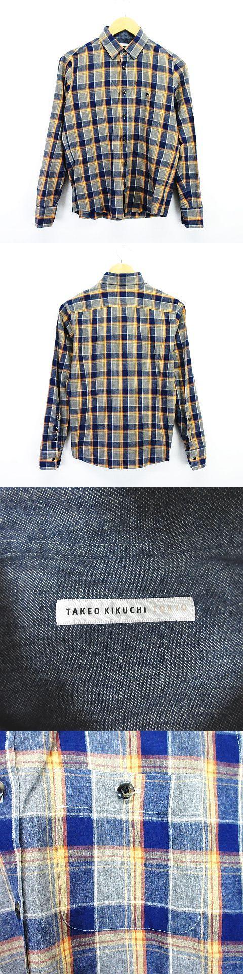 シャツ 長袖 チェック 胸ポケット 1 ネイビー×イエロー×グレー ※EKM