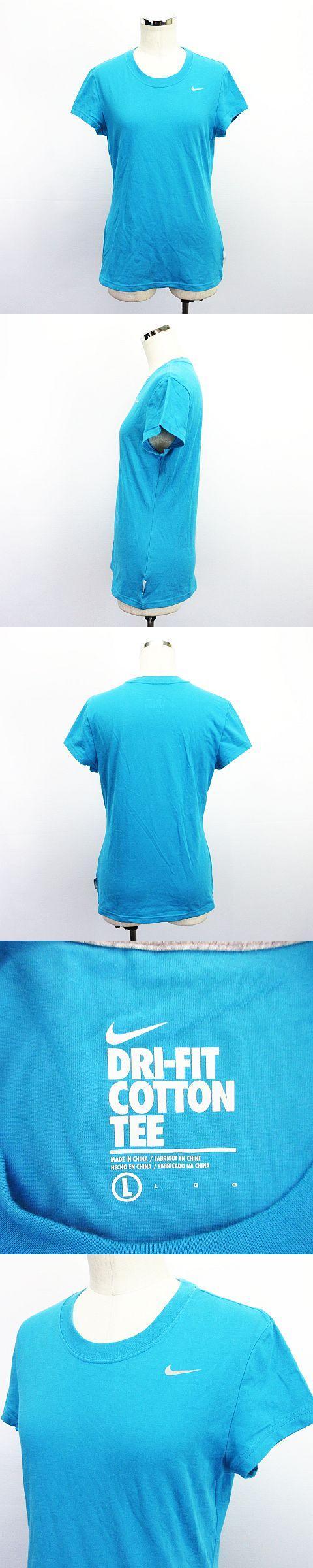 Tシャツ カットソー 半袖 クルーネック ロゴ ポリウレタン L ブルー スポーツウェア ※EKM