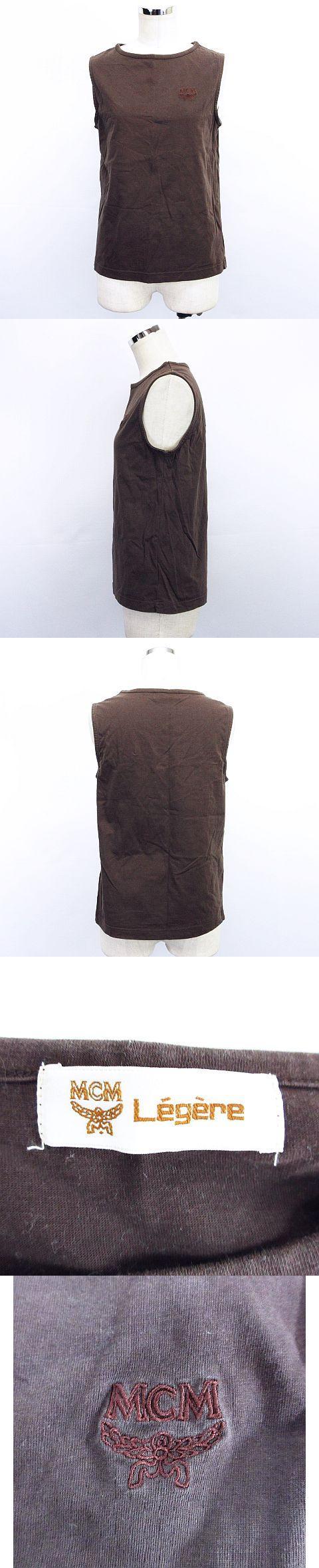 Tシャツ カットソー ノースリーブ ラウンドネック ロゴ 刺繍 LL ブラウン ※EAN