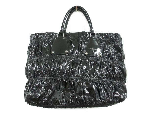 d3f04410f557 プラダ PRADA トートバッグ 手提げ ハンド ギャザー シャーリング エナメル パテントレザー 黒 ブラック 鞄 レディース
