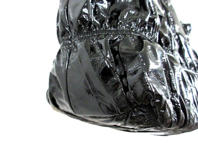 301cea89b3b7 ... プラダ PRADA トートバッグ 手提げ ハンド ギャザー シャーリング エナメル パテントレザー 黒 ブラック 鞄 レディース