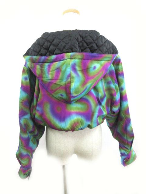 ノーベスパジオ NOVESPAZIO ブルゾン ジャケット リバーシブル フード キルティング 中綿 黒 ブラック マルチ カラフル M アウター 上着 美品 レディース