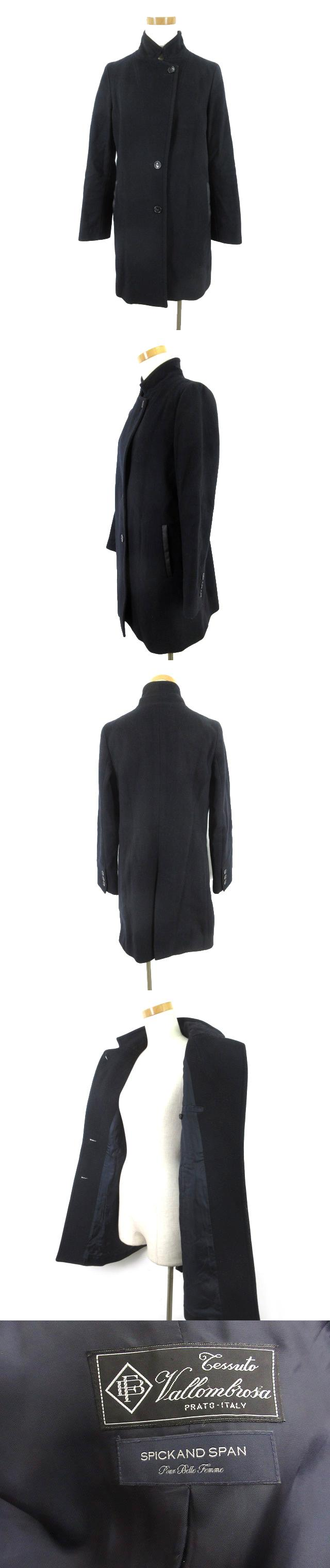 ステンカラー コート 立ち襟 Vallombrosa バロムブローサ ポケットフェイクレザー 紺 ネイビー ウール 36 アウター