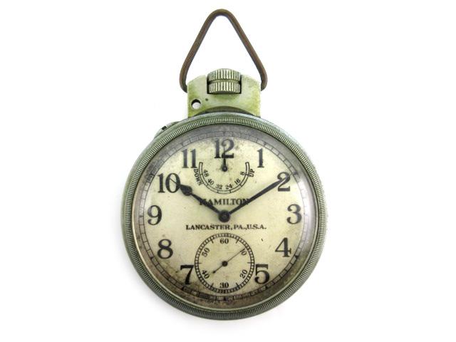 ハミルトン HAMILTON 懐中時計 ウォッチ 手巻き 大型 鉄道時計 クロノメーター LANCASTER,PA,U.S.A NAVY 直径7cm シルバー 激レア メンズ