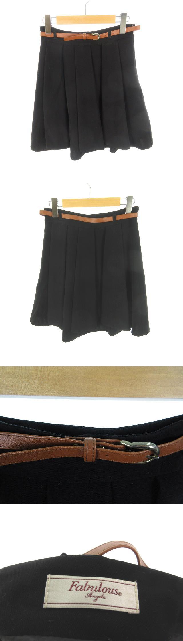 ひざ丈 スカート フレアー ギャザー ベルト 無地 黒 ブラック M 美品