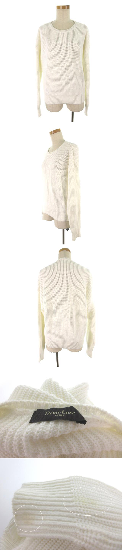 長袖 ニットセーター クルーネック 編み込み 白 ホワイト コットン 無地