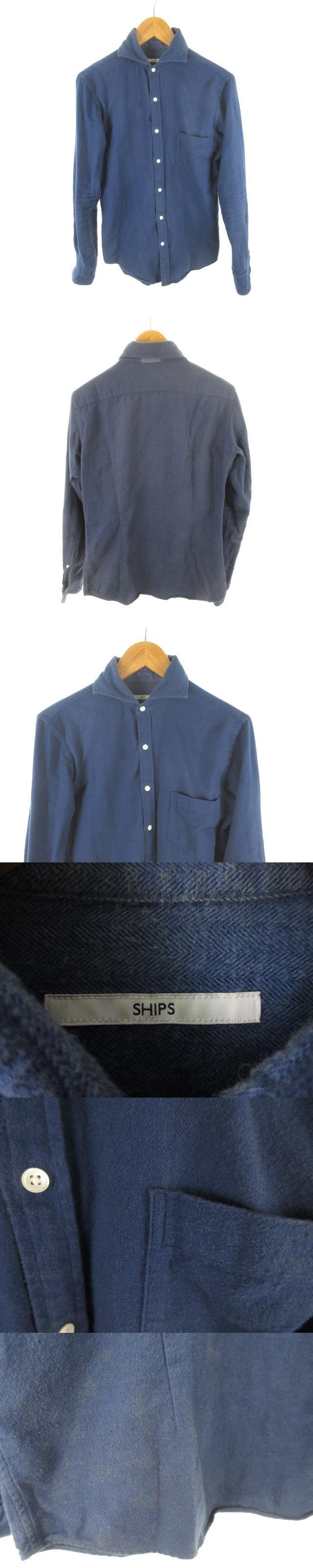 シャツ 長袖 イタリアンカラー 紺 ネイビー コットン S トップス