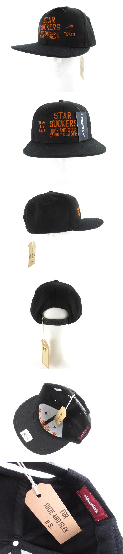 ハイドアンドシーク HIDE and SEEK SUNNY C SIDER サニーシーサイダー キャップ ロゴ刺繍 黒 ブラック オレンジ コットン 帽子