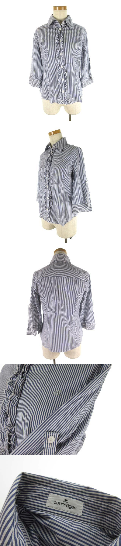 長袖 七分袖 シャツ ブラウス ストライプ 袖調節可能 フリル 白 ホワイト 紺 ネイビー コットン 40 トップス 美品