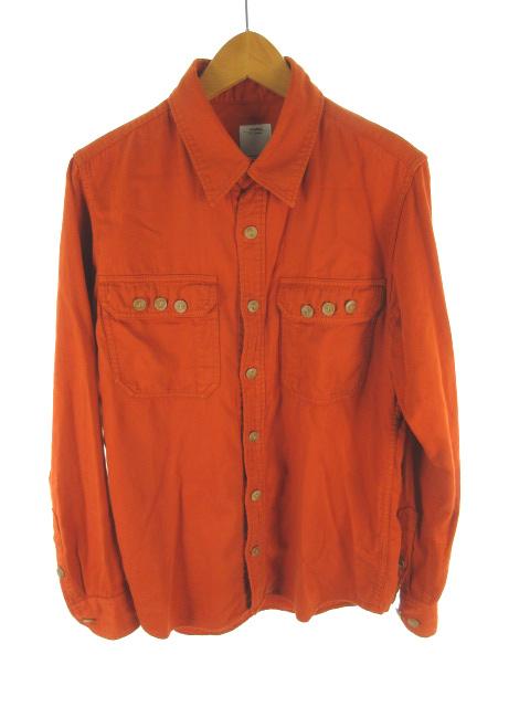 ビズビム VISVIM シャツ 長袖 0116205011021 BLACK ELK SHIRT ウッドボタン コットン オレンジ ブラウン 2 トップス メンズ