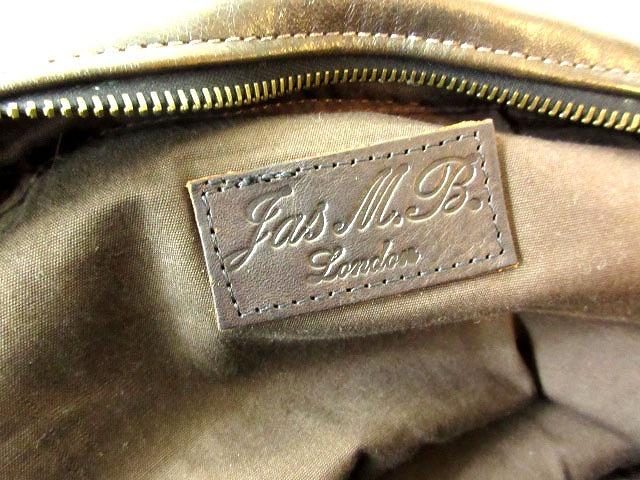 ジャスエムビー JAS-M.B. レザーバッグ ボストンバッグ ハンドバッグ ダークブラウン イギリス製 メンズ レディース