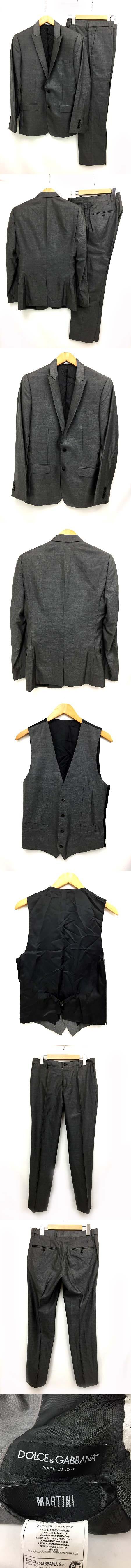 MARTINI 美品 光沢 スーツ ジャケット パンツ ベスト 3ピース イタリア製 44 グレー