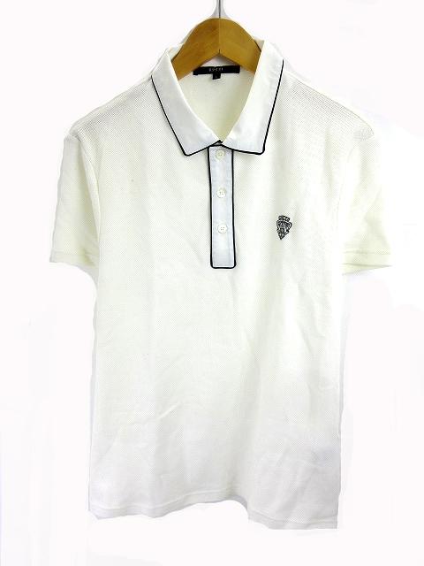 official photos c759e 19d9b グッチ GUCCI ポロシャツ 半袖 ロゴ刺繍 ライン 白 ホワイト L 国内正規 メンズ