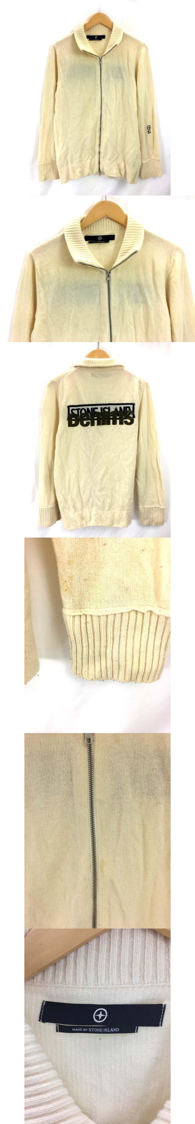 ニットジャケット ジップアップ 長袖 L イタリア製 バックプリント クリーム色 SSS3