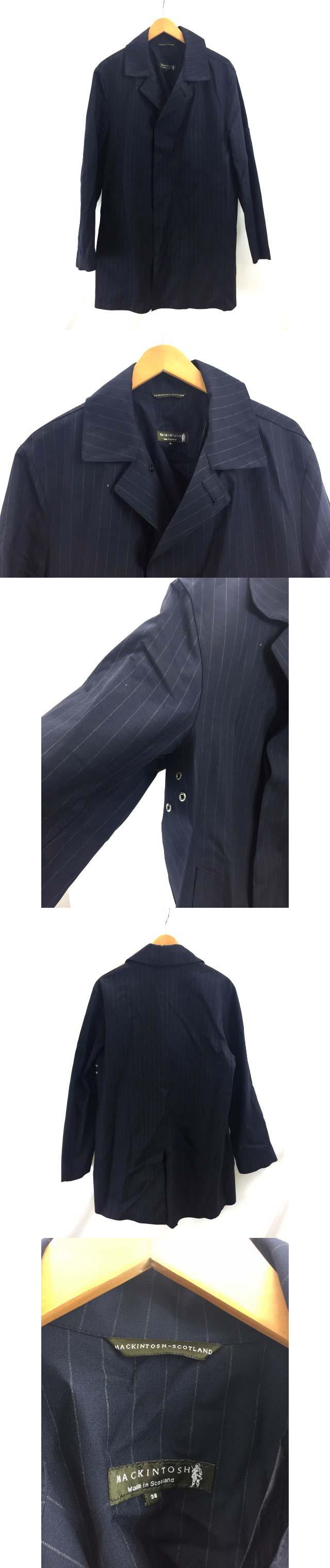 美品 ステンカラーコート ロングコート ゴム引き ストライプ スコットランド製 38 紺 ネイビー SSS3