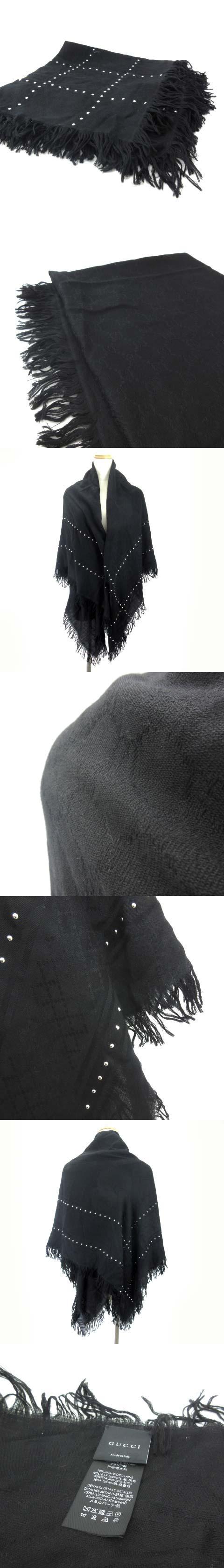 マフラー ストール スタッズ メタル装飾 シルク混 GG柄 黒 ブラック 130×130 国内正規