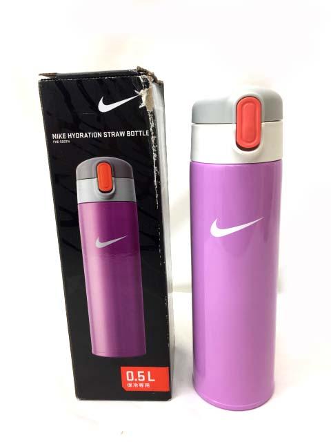 未使用品 ナイキ NIKE 新品同様 水筒 HYDRATION ストローボトル 真空断熱 0.5L 魔法瓶 パープル FHE-500TN SSS8 レディース