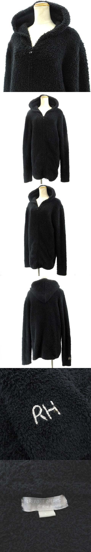 for Ron Herman ロンハーマン RH 人気定番パーカー パイル地 もこもこ ロゴ刺繍 黒 ブラック L IBS91
