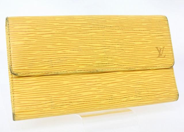 new product f8ef1 d4159 ルイヴィトン LOUIS VUITTON エピ 長財布 三つ折り ポルトトレゾールインターナショナル M63389 タッシリイエロー 黄色 /JJ  レディース
