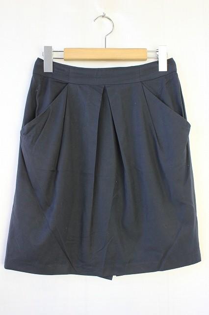 アンタイトル UNTITLED タイトスカート タック 無地 シンプル ひざ丈 1 ネイビー 紺 /VT13 SSAW レディース