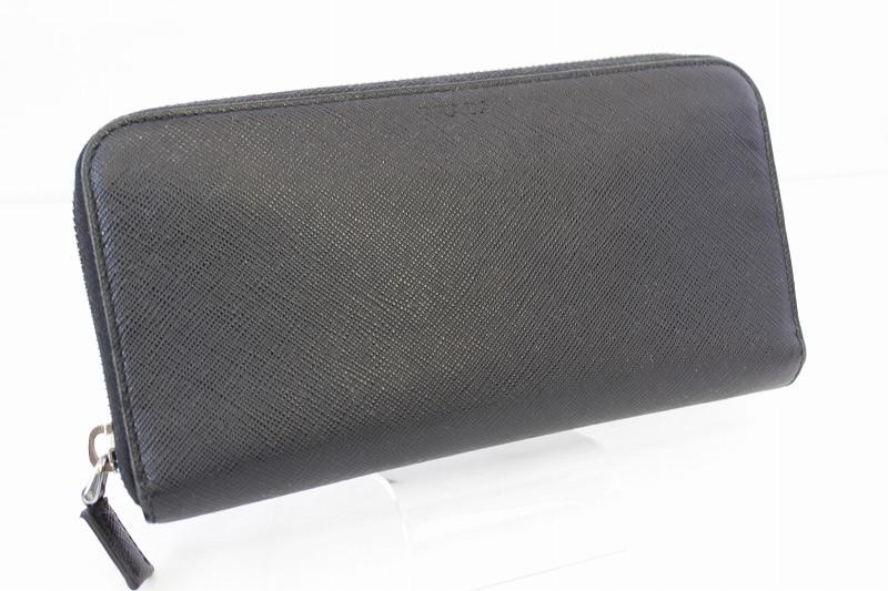 32fd3172ca0b プラダ PRADA 箱付き 長財布 ラウンドファスナー サフィアーノレザー ロゴ 型押し ブラック 黒 /VV メンズ レディース