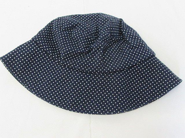 無印良品 良品計画 ドット 帽子 ハット 綿 紺 56〜 レディース