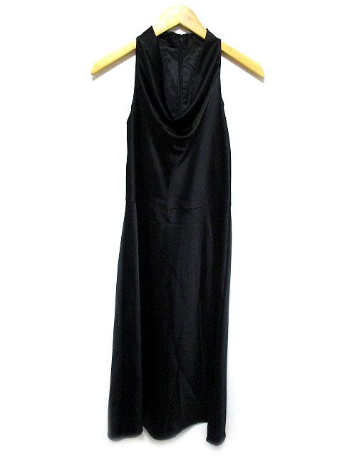 ロートレアモン LAUTREAMONT ワンピース ドレス ロング ノースリーブ オーバーネック サテン 結婚式 二次会 黒 2 レディース