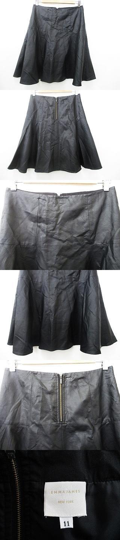 フレアスカート レザー ひざ丈 裏地付 ストレッチ ファスナー 黒 ブラック 67-93