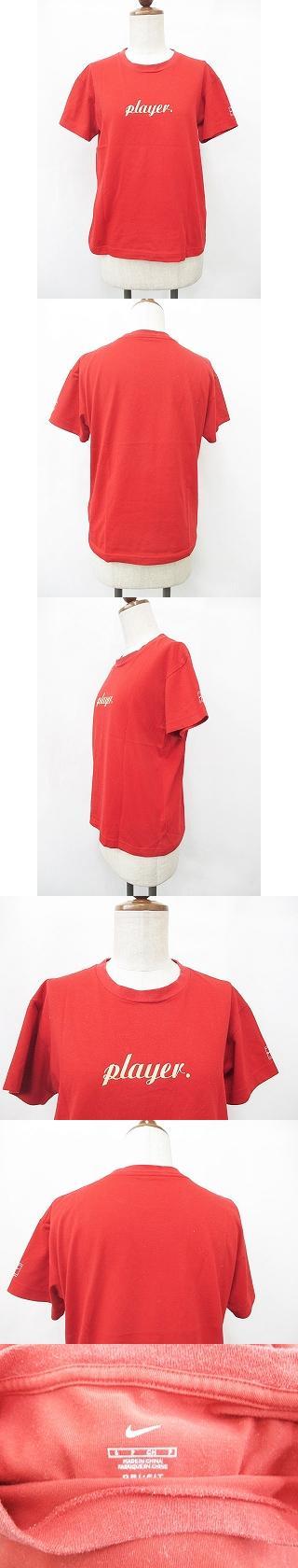 Tシャツ スポーツウエア 丸首 プリント ロゴ ロゴマーク 半袖 赤 薄オレンジ レッド S
