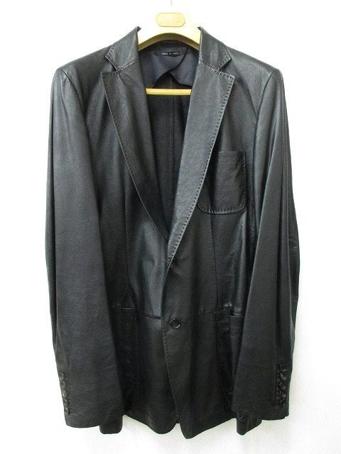 1d4c51798bdf グッチ GUCCI レザージャケット 革ジャン テーラード シングル 2B 羊革 国内正規 黒 ブラック 48 メンズ