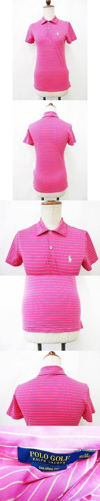 ゴルフウエア ポロシャツ 半袖 ロゴ 刺繍 ボーダー 綿 ピンク グリーン XS