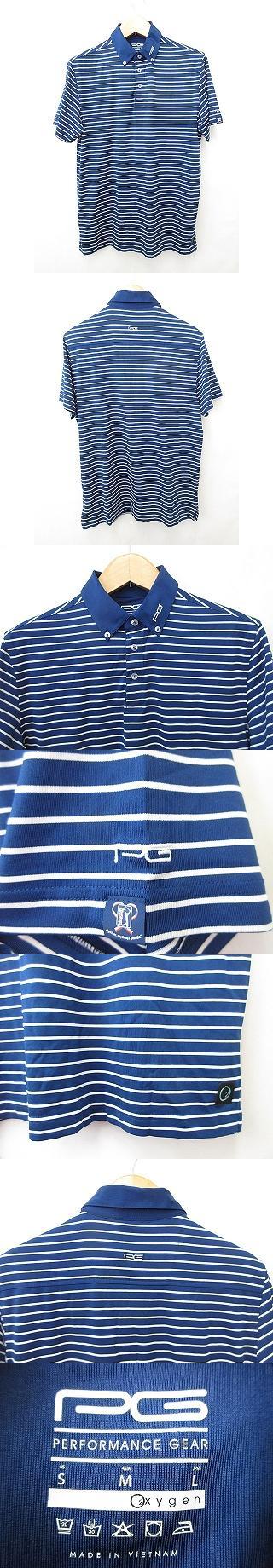 PGA TOUR ポロシャツ ゴルフウェア 半袖 ボタンダウンカラー ロゴ ワッペン ストレッチ ボーダー 紺 白 ネイビー ホワイト L