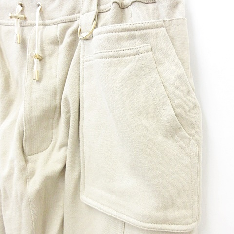 未使用品 バルマン BALMAIN パンツ スウエット サスペンダー サロペット サルエル 大きいサイズ 綿 ベージュ XXL ☆AA★ メンズ