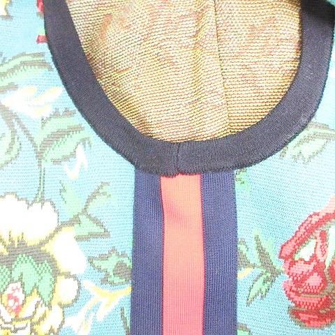 未使用品 グッチ GUCCI ジャンプスーツ サロペット オールインワン オーバーオール スリーライン 花柄 ジャガード ニット 大きいサイズ ウール ブルー 赤 紺 ネイビー グリーン XXXL ☆AA★ メンズ