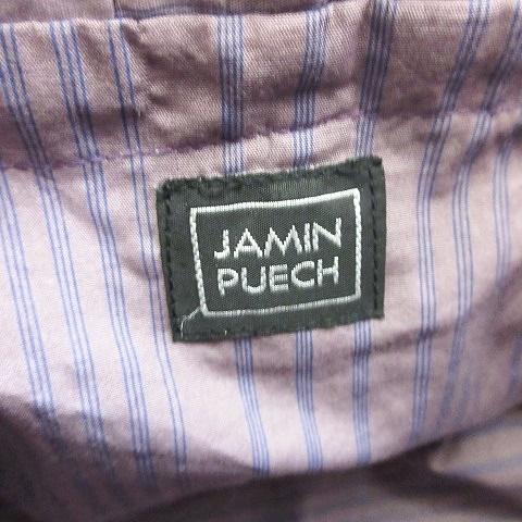 ジャマンピュエッシュ JAMIN PUECH かごバッグ トートバッグ ハンドバック バスケット ゴム紐 底鋲 木製ビーズ 総柄 グリーン ブラウン レディース