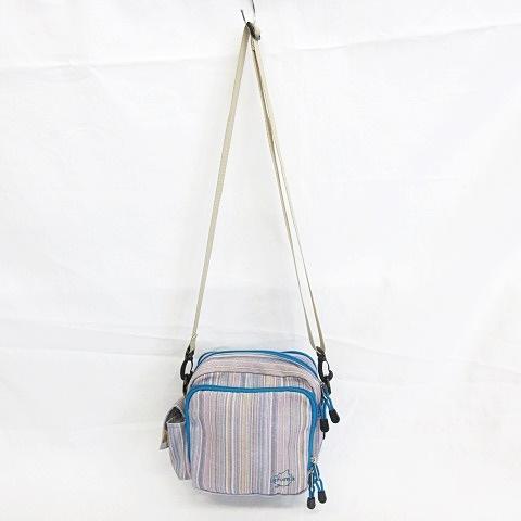 ラフマ Lafuma ショルダーバッグ ポーチ スクエア型 ダブルスライダー サイドポケット キャンバス地 ストライプ ロゴ 総柄 ブルー グリーン メンズ レディース