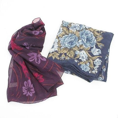 ローラアシュレイ LAURA ASHLEY 小物 スカーフ ストール 2枚セット 花柄 パープル ネイビー 紫 紺 レディース